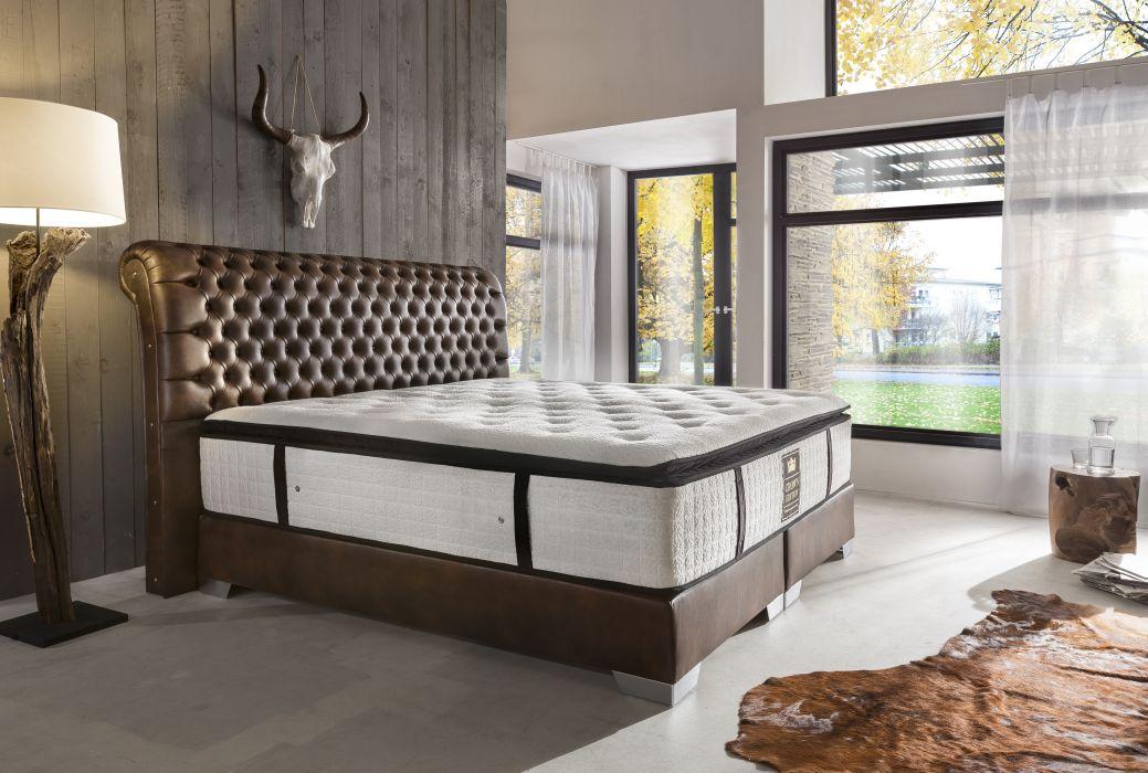 CROWN Boxspringbett BARON DELUXE, hohe Taschenfederkern Matratze, inkl. Topper, Kunstleder Antik Braun, 200x200 cm