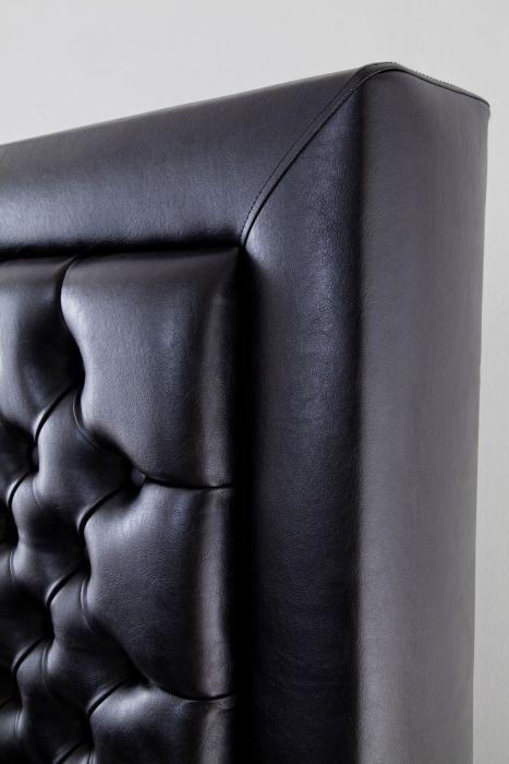 CROWN Boxspringbett MILLENIUM DELUXE, Taschenfederkern Matratze inkl. Topper, Kunstlleder Schwarz, 180x200 cm