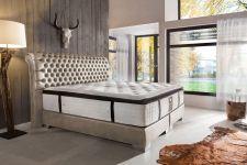 CROWN Boxspringbett BARON DELUXE, hohe Taschenfederkern Matratze, inkl. Topper, Samt Beige, 160x200 cm