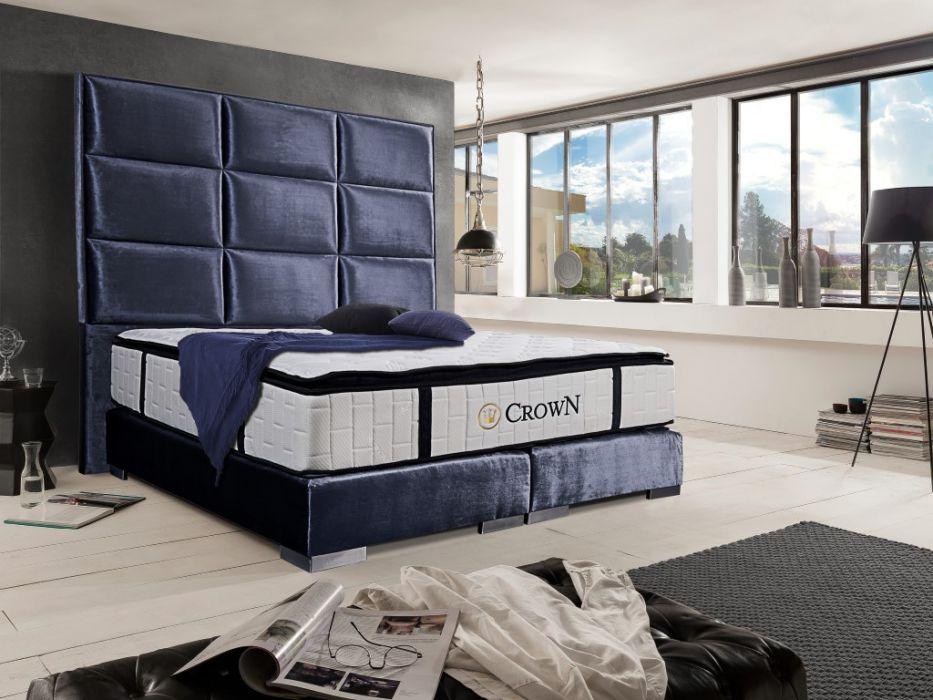 CROWN Boxspringbett QUADRO PLUS DELUXE, hohe Taschenfederkern Matratze, inkl. Topper, Nubuk Kunstleder Grau, 160x200 cm