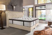 CROWN Boxspringbett BARON DELUXE, hohe Taschenfederkern Matratze, inkl. Topper, Samt Creme, 180x200 cm
